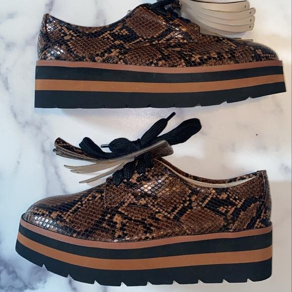 Zara Basic Collection Platform Snakeskin Sneakers